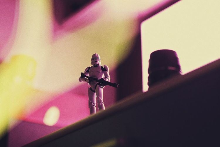 Indoors  Selective Focus Close-up No People Human Representation Music Male Likeness Figurine  Representation Technology Arts Culture And Entertainment Low Angle View Toy Still Life Creativity Art And Craft Day Cross Pink Color Light Painting Scale Model Scalemodel Clone Trooper Star - Space Star Wars Clonetrooper Hobby Toys Scale Model Photography