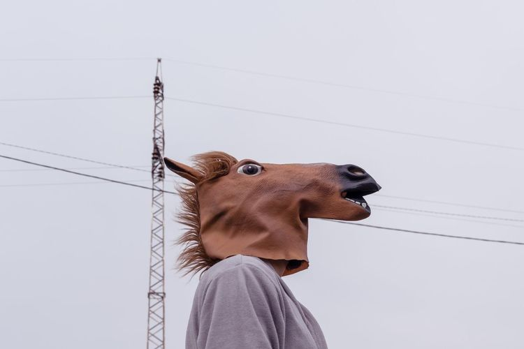 Low angle view of person wearing horse mask against electricity pylon