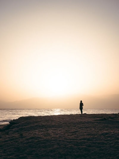 Alone Salt Travel Dead Sea  Fog Lonly One Person person Sand Sea Sky Sunrise Sunset Travel Destinations