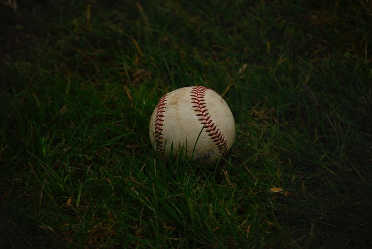 Close-up of baseball on grass