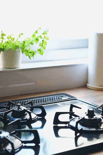 close up image of Gas stove in the kitchen,Interior of rural kitchen Cook  Cooking Close-up Cooked Gas Stove Gas Stove Burner Home Interior Kitchen Kitchen Art Still Life Table