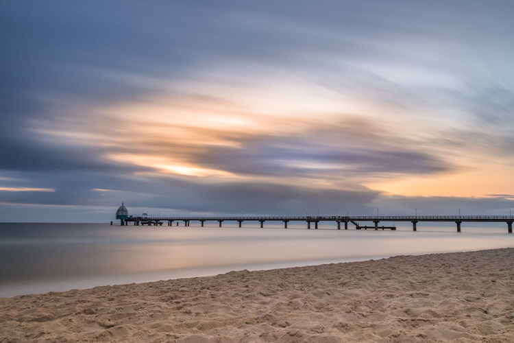 Seebrücke Zinnowitz als Langzeitbelichtung 02 Baltic Sea Holiday Ostsee Seebrücke Sonnenaufgang Strand Urlaub Zinnowitz Beach Koserow Romantic Sky Ruhe Stille Summer Sunrise Sunset Usedom