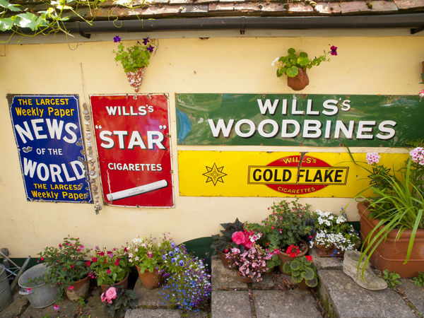 Man Cave Signs in back garden Shoreham Kent Advertising Back Shed Black Out Board Day Hovis Kent Looting Lyons Tea Man Cave Multi Colored News Of The World No People Old Tin Signs Outdoors Plane Wreckage Plant Robinsons Signs Text Tradition Village Vivid International