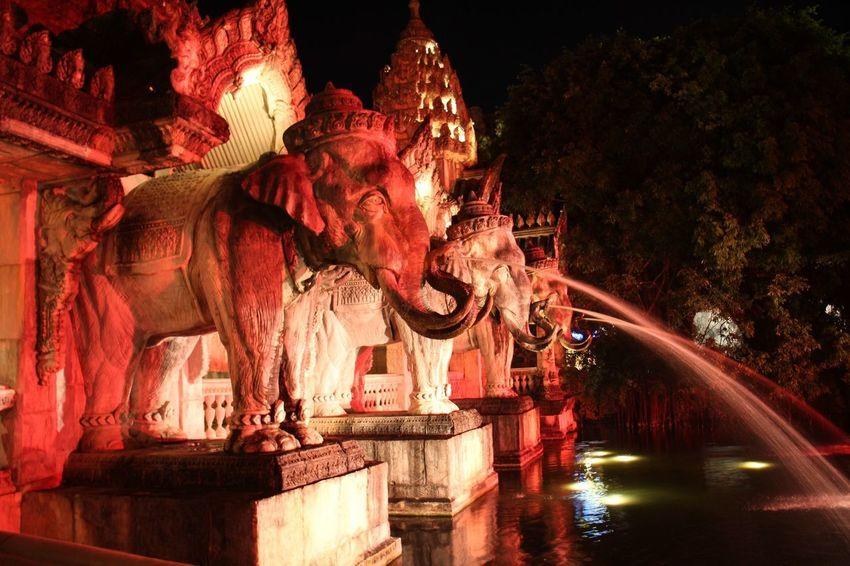 Bangkok Phuket Thailand Tourist Travel Fantasea Fountain Illuminated Night Sculpture Spraying Statue Tourism Travel Destinations Water