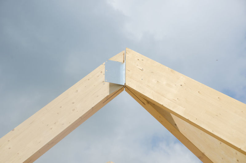 Apex of roof under construction Apex Roof Architecture Built Structure End Large Outdoors Pointed Wooden