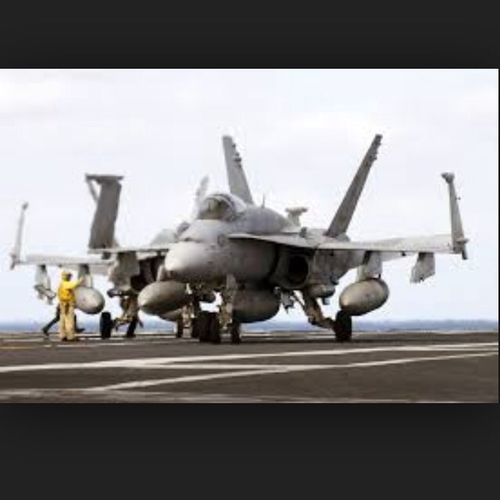 U.S Navy F/A 18 Super Hornet getting ready for a take off. USA Us Military U.S. Navy F/A-18C Hornet