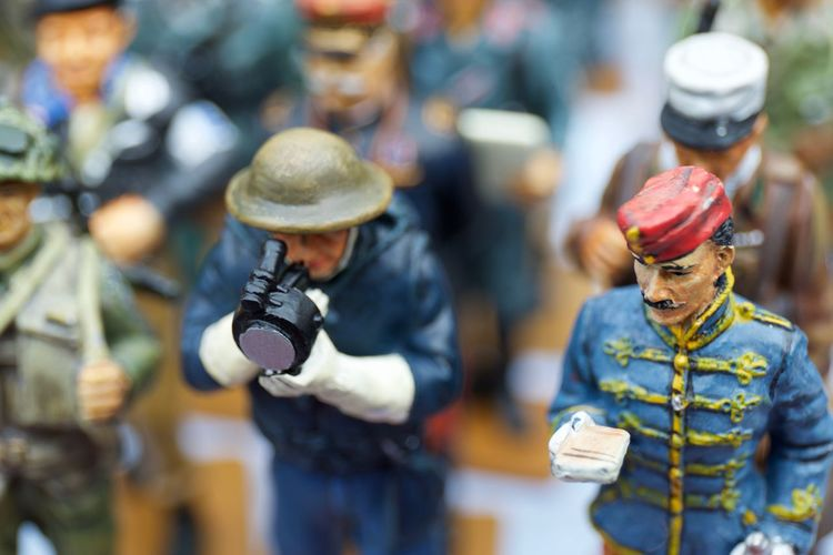 Close-up of figurines on table