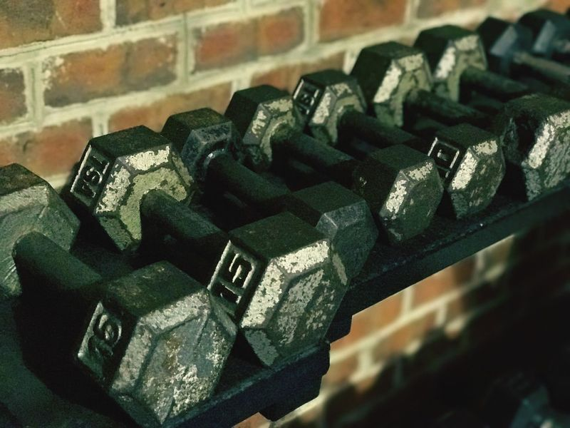Rack of Dumbbells Indoors  No People Close-up Stack Large Group Of Objects Fitness Exercise Equipment Dumbbell Dumbbells Weights Weightlifting Exercise Brick Wall Lifestyles Lifestyle Fitness Training Fitness Equipment Free Weights Healthy Lifestyle Build Muscles Fit Life  Lined Up Gym Gym Life Healthylifestyle