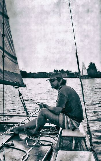 The Artist as A Young Man ;-) – On a totally homebuilt and -constructed catamaran (then the fastest sailboat on the Veluwe Sea) 1969 Boat Casual Clothing Catamaran Day Lake Leisure Activity Lifestyles Mode Of Transport Nautical Vessel Outdoors Person Sailboat Sailing Sea Side View Sitting Sky Transportation Vacations Water
