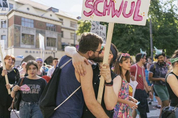 CSD Demo Gender Kiss Love Demonstration Gay Homosexual Love Parade Sights Love Is Love