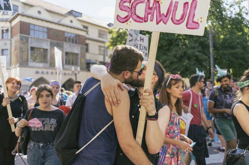 CSD Demo Gender Kiss Love Demonstration Gay Homosexual Love Parade Sights