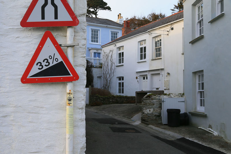You have been warned! Very steep hill road sign in St. Mawes, a very picturesque village in Cornwall, England. Built Structure Communication Danger Day Narrow Street No People Outdoors Road Road Sign Steep Hill Triangle Shape Warning Sign