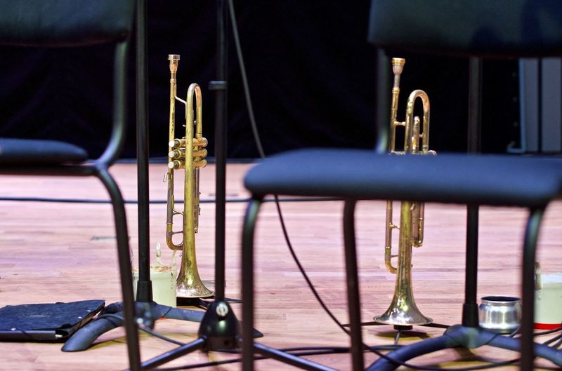 Close-up of musical instruments on stage