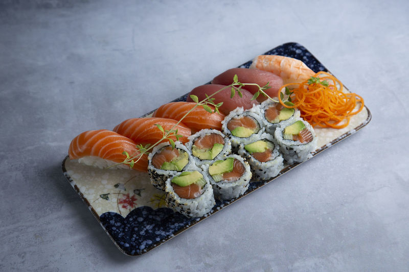 Close-up of sushi served in plate
