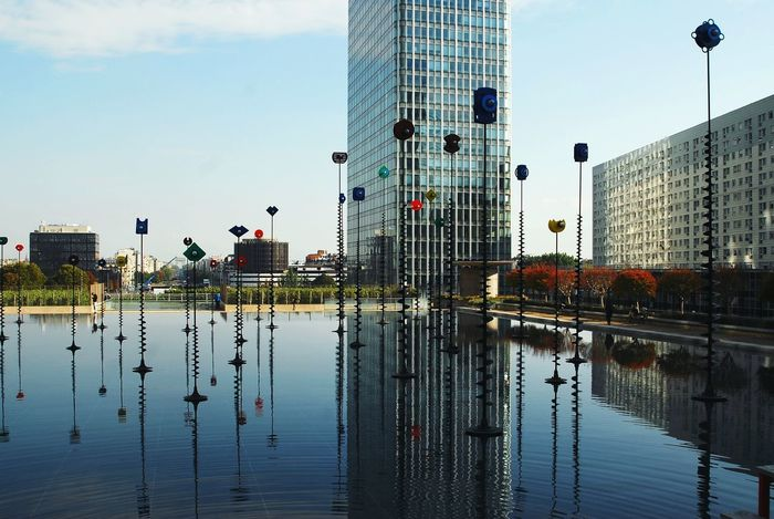 Tower Building Water Sky Water Reflections Light Metal Structure Art Paris Ladefense
