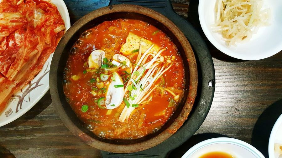 Food And Drink Directly Above Food Indoors  Freshness Table Plate Indulgence Healthy Eating Korean Restaurant Korea Food