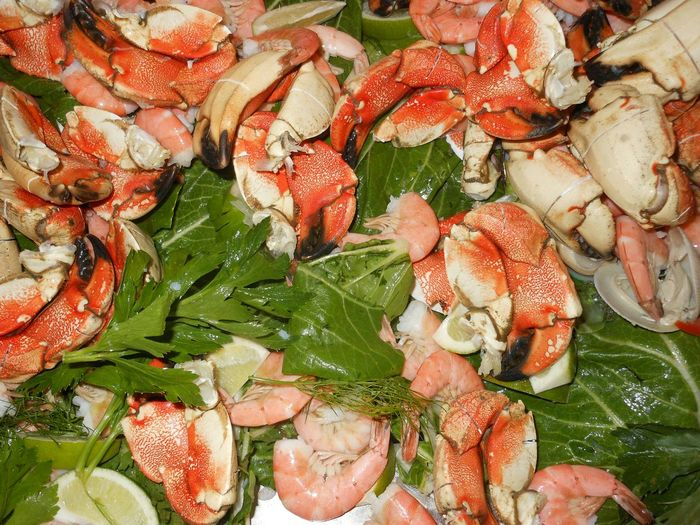 Full Frame Shot Of Prawns And Crabs In Plate