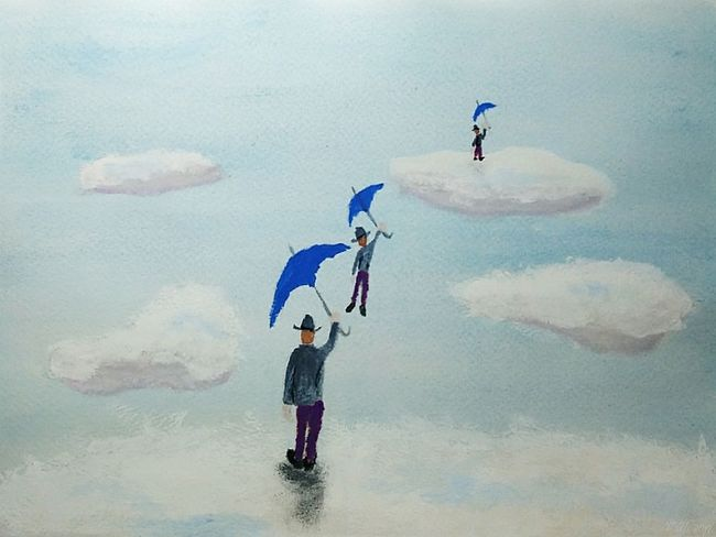 Flying men -my new gouache painting Traditional Art Gouache Gouache Colors My Artwork My Artwork 🌹 Painting
