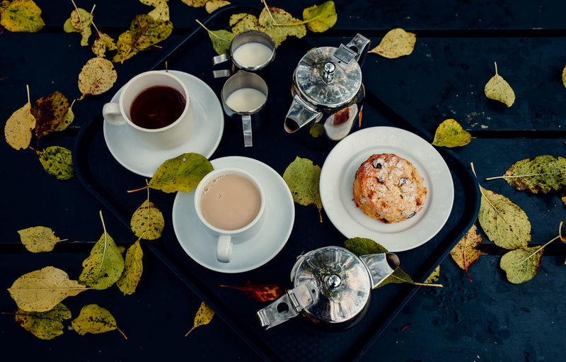 High Angle View Of Breakfast On Table Outdoors In Autumn