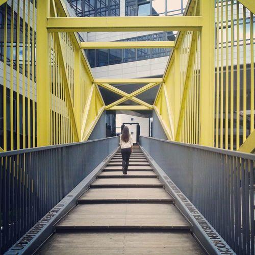 Rear View Of Woman Walking On Elevated Walkway