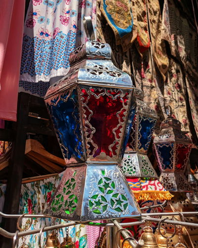 Low angle view of lantern for sale at market