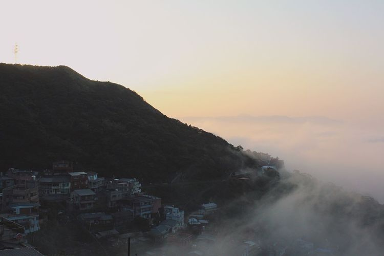 top Jiufen Old Street, Taiwan Jiufen Taiwan Building Exterior Architecture Built Structure Mountain Sunset Sky Outdoors No People Town Nature Mountain Range Day City Beauty In Nature