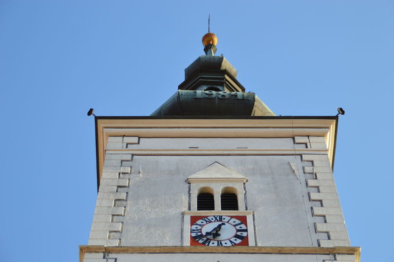 Low angle view of st marks church against clear blue sky