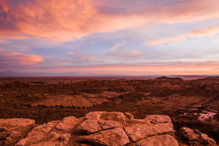 Sunset in moon valley in the atacama desert