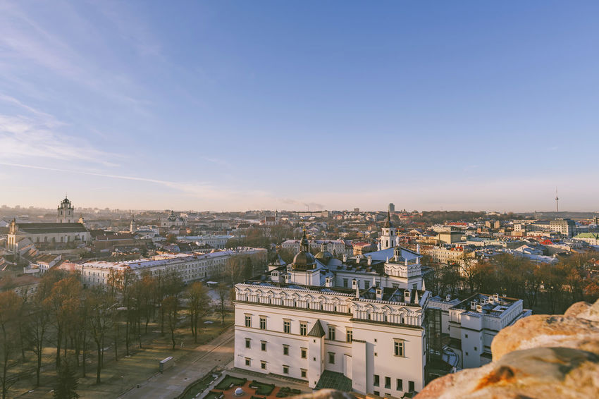Morning panorama of Vilnius Nikon Z7 Z7 Europe Lithuania Lietuva Morning Panorama City Winter Capital Building Exterior Architecture Built Structure Cityscape Building Sky High Angle View Residential District Crowd Crowded Nature Day Copy Space Travel Destinations Clear Sky Community Outdoors Religion TOWNSCAPE Settlement