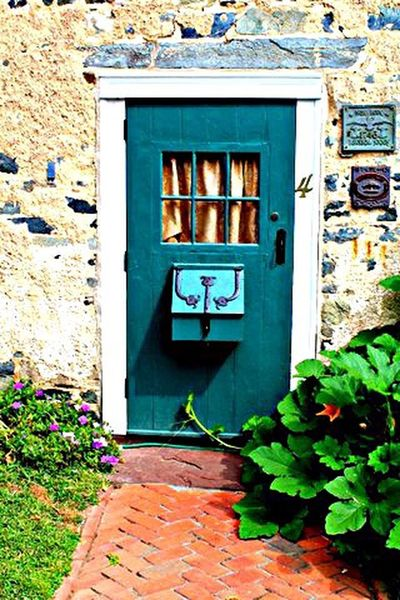 Come in Door on Circa 1743 Built Structure Architecture Building Exterior Stone Work Window Mailbox Historical Society Plaques Greenery Photography