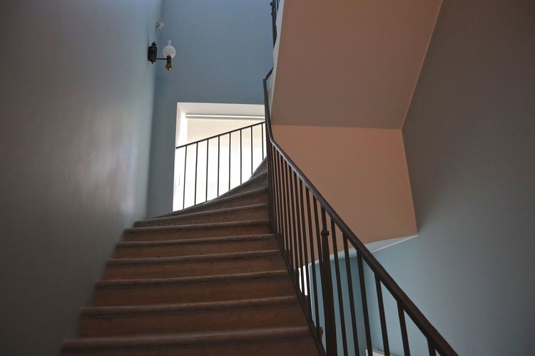 Staircase Architecture Railing Steps And Staircases Built Structure Low Angle View Building Indoors  No People Wall - Building Feature Day Window Home Interior The Way Forward Sunlight Absence Nature Empty Apartment