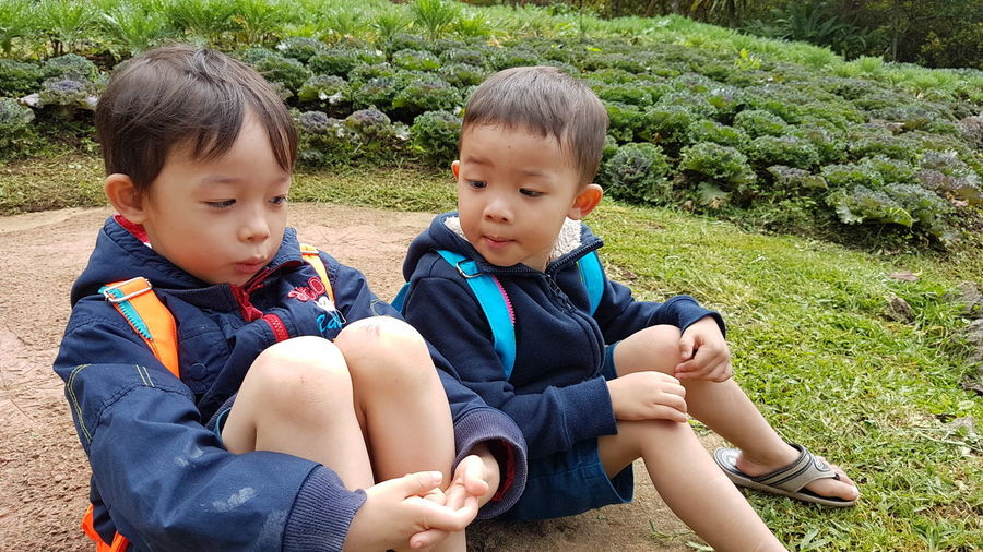Brothers Sitting At Park