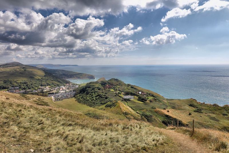 Dorset Sea Horizon Over Water Tranquil Scene Water Beauty In Nature Scenics Tranquility High Angle View Sky Landscape Nature Cloud - Sky Non-urban Scene Day Blue Mountain Growth Coastline Outdoors Seascape