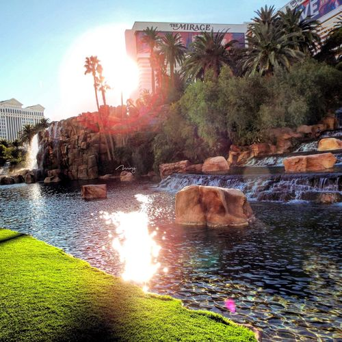 Water Lens Flare Sunlight Sunset Building Exterior Architecture Clear Sky The Mirage Hotel Mirage Hotel Modern Urban Skyline Cityscape Las Vegas Nature Desert Travel Destinations City Clear Sky Built Structure Outdoors Architecture Desert Landscape