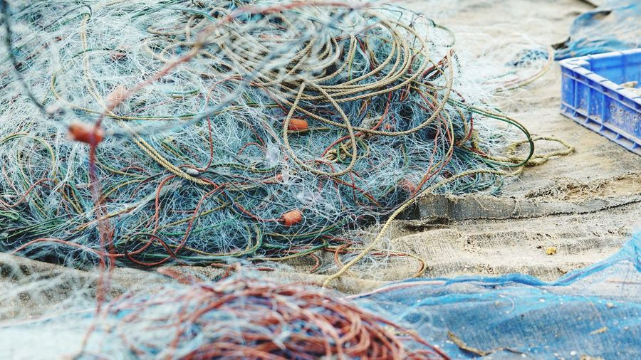 Fishing Net Fishing Equipment High Angle View Beach Close-up
