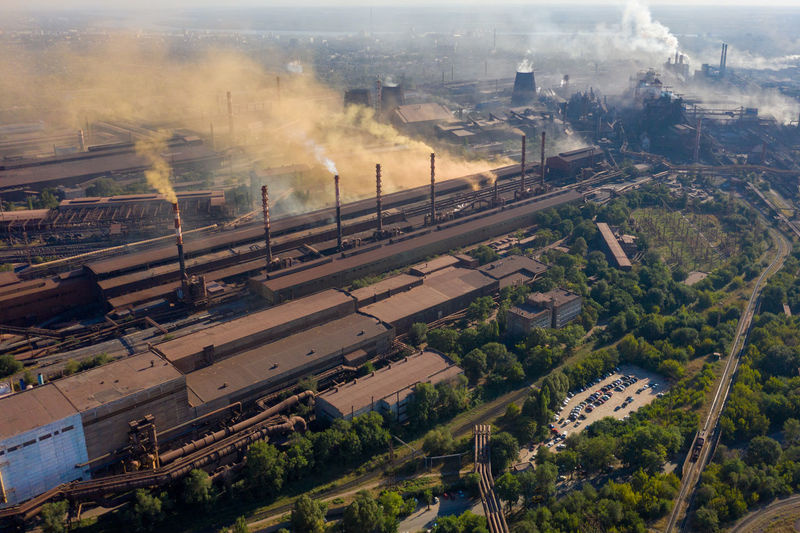 Factories smoke toxic substances into the atmosphere