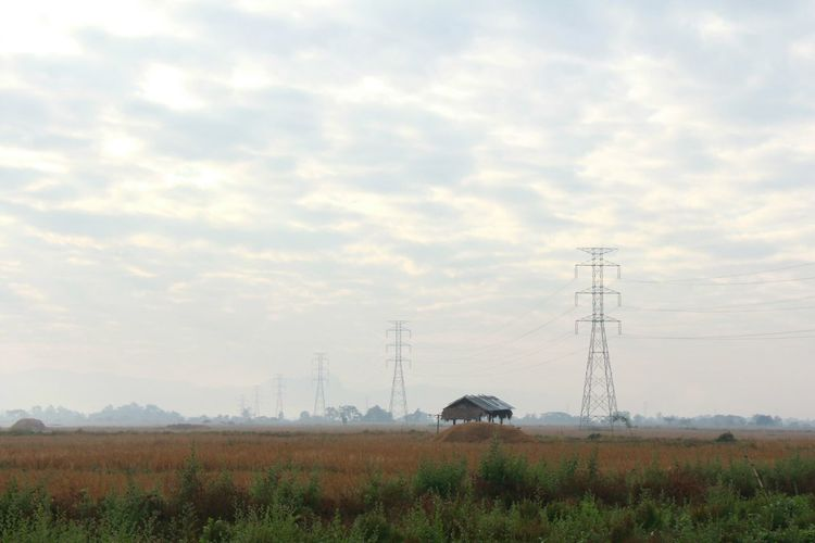 Electricity Pylon Electricity  Technology Sky Cable Cloud - Sky Landscape Environment Nature Power Supply Land Plant Fuel And Power Generation Rural Scene Power Line  Field No People Agriculture Beauty In Nature Outdoors Chin State, Myanmar