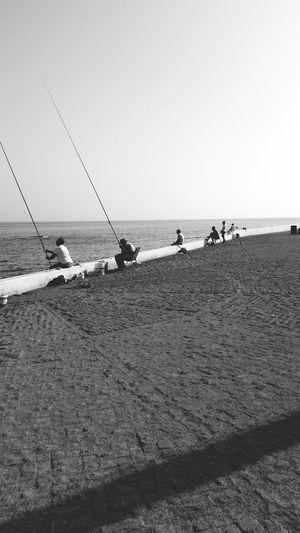 Fisherman Morning Friends Enjoying Life Blackandwhite Black&white