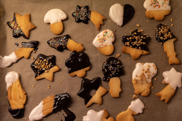 High angle view of cookies