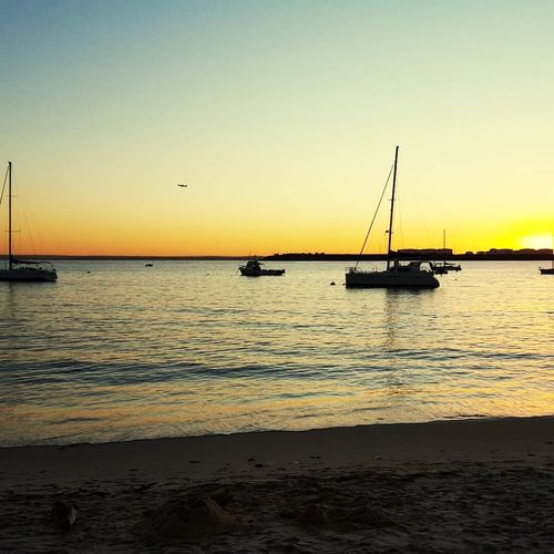 Water Sky Sea Sunset Beauty In Nature Scenics - Nature Clear Sky Beach Horizon Over Water Sailboat Orange Color Tranquil Scene No People