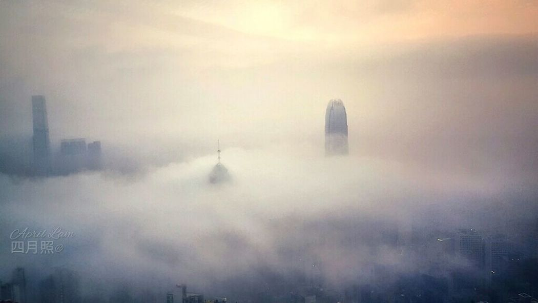 City in fog City Urban Skyline Fog Smog Skyscraper Weather Sky Architecture Building Exterior Cloud - Sky Foggy Mist Atmospheric Mood Dramatic Sky Moody Sky