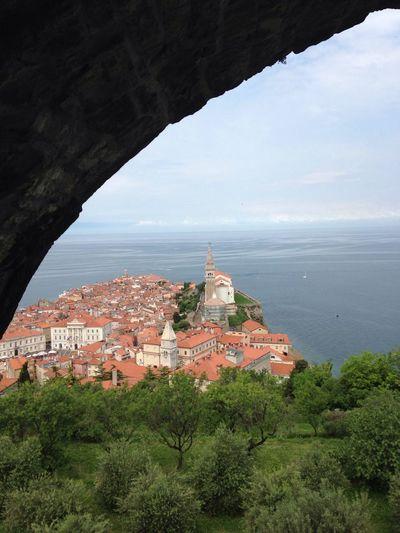 Amazing View down to Piran/Pirano Architecture Old Town