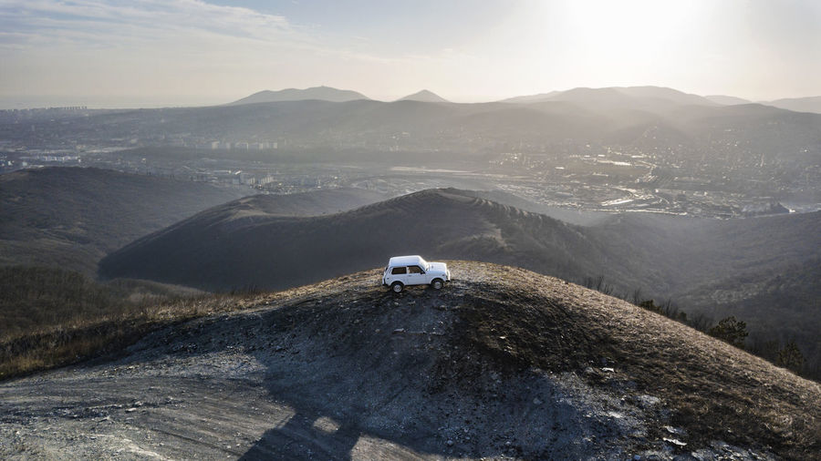 High angle view of vehicle on mountain