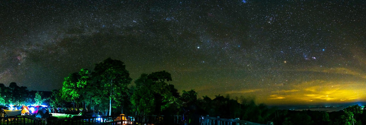 Panoramic view of trees against sky at night