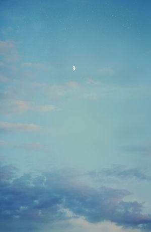 Astronomy Backgrounds Beauty In Nature Cloud - Sky Cloudscape Day Heaven Idyllic Low Angle View Moon Nature No People Outdoors Scenics Sky Sky Only Tranquil Scene Tranquility