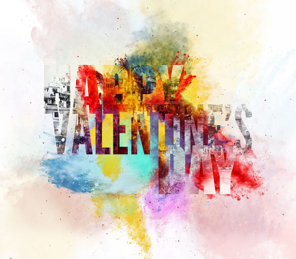 Happy Valentine's Day Greeting Card. Digital illustration. Bright colors 14 February Abstract Art Backdrop Background Bright Colors Celebration Collage Art Colorful Creative Design Digital Art Digital Watercolor Graphic Greeting Card  Happy Valentine's Day Illustration Letters Love Multi Colored Pattern Splash Text Watercolor Word