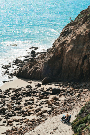Malibu pacific ocean rock view California Los Ángeles Malibu Beach Beauty In Nature Day Horizon Over Water Land Motion Nature Outdoors Pacific Ocean Rock Rock - Object Rocky Coastline Sand Scenics - Nature Sky Solid Surfing Tranquil Scene Water Wave