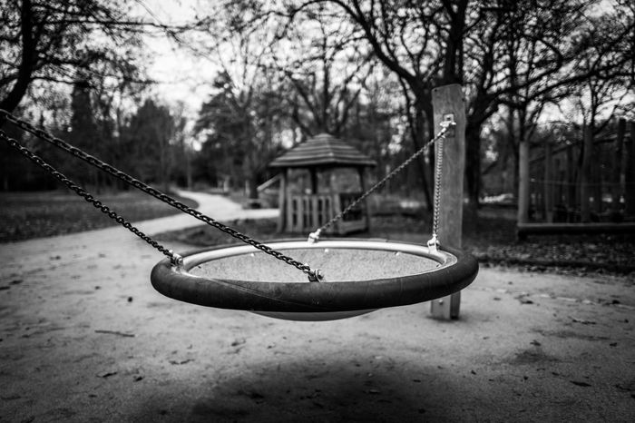 Empty playground in Frankurt Frankfurt Abandoned Childhood Close-up Day Focus On Foreground Grueneburgpark Hanging Nature No People Nopeople Outdoor Play Equipment Outdoors Playground Rope Swing Sky Swing Tree Water