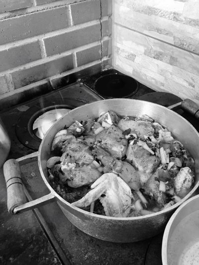 Food Domestic Kitchen Woodstove Monochrome Photography Woodburning Stove Cooking Chickens