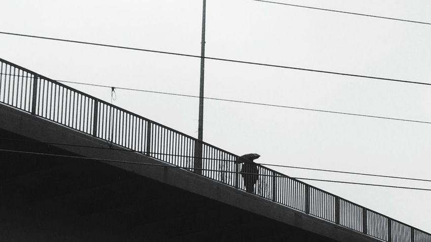 Berlin SNAPSHOTS Blackandwhite Photography Monochrome Umbrellas Silhouette Lines Symmetry Black & White Rainy Days Bridge Welcome To Black Long Goodbye